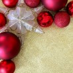 Christmas Bulbs and Star Ornament Frame on Gold Glitter Backgrou — Stock Photo #58019859