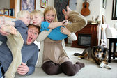 Funny Happy Family Portrait at Home — Stock Photo