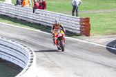 Dani Pedrosa of Repsol Honda team racing — Stock Photo