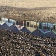 Relection of Beach Huts on Southwold Beach, Suffolk, England — Stock Photo #68763041