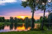 закат в городском саду — Стоковое фото