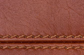 Brown stitched leather close up — Stock Photo