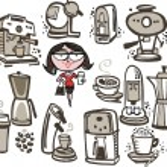 Постер, плакат: Woman with coffee machines