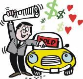 Man selling car — Stock Vector