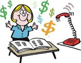 Woman earning money — Vetor de Stock
