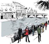 Pedestrians on river path — Stock Vector