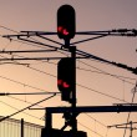 Silhouette of railway traffic signals — Stock Photo #75868167