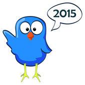 Cartoon chicken blue wave 2014 — Vettoriale Stock
