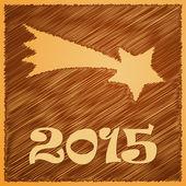 Merry christmas happy golden star 2015 — Stock Vector