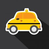 Vector of taxi car with long shadow — Stock Vector