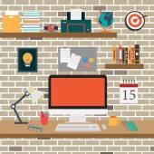 Vector Office room.interior,books ,desk,clock,computer,paper — Stock Vector