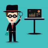 Vektor der kriminellen Hacking-Privatkonto — Stockvektor