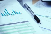 Accounting business and financial report with pen vignetting and — Stock Photo