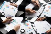 Businessman hand working marketing accounting .montage style — Stock Photo