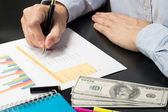 Man Analysis Business and financial report. — Stock Photo