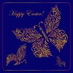 Greeting card with golden metallic butterflies. — Stock Vector #62278571