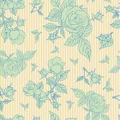 Vintage seamless pattern with beautiful roses. — Vector de stock