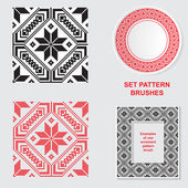 Set of Ethnic ornament pattern brushes. Vector illustration — Stock Vector
