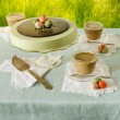 Easter table with tea matcha cheesecake and white coffee on background of green grass — Stock Photo #64709711
