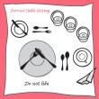 Do not like. Dining table setting proper arrangement of cartooned cutlery — Stock Vector #66976593