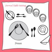 Pause Dining table setting proper arrangement of cartooned cutlery — Stock Vector
