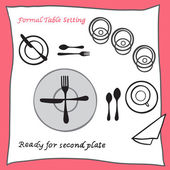 Ready for second plate. Dining table setting proper arrangement of cartooned cutlery — Stock Vector