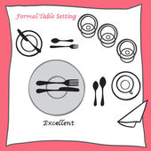 Excellent Dining table setting proper arrangement of cartooned cutlery — Stock Vector
