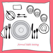 Dining table setting proper arrangement of cartooned cutlery — Stock Vector