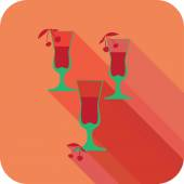 Three glasses liqueur flat design stylized vector party drink icon — Stock Vector