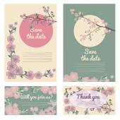 Set of flowering hand drown cherry blossom card. Vintage background — Stock Vector