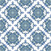 Hand drawing zentangle mandala color seamless parteern. Italian majolica style — Stock Vector