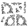 Set of Hand drawing ornamental decorative elements. Carving style — Stock Vector #76672603