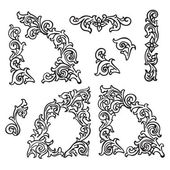 Set of Hand drawing ornamental decorative elements. Carving style — Stock Vector