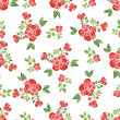 Decorative seamless patterns with red roses, leaves and branches. — Stock Vector #76810741