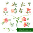 Set of decorative color elements, roses and leaves — Stock Vector #76825219