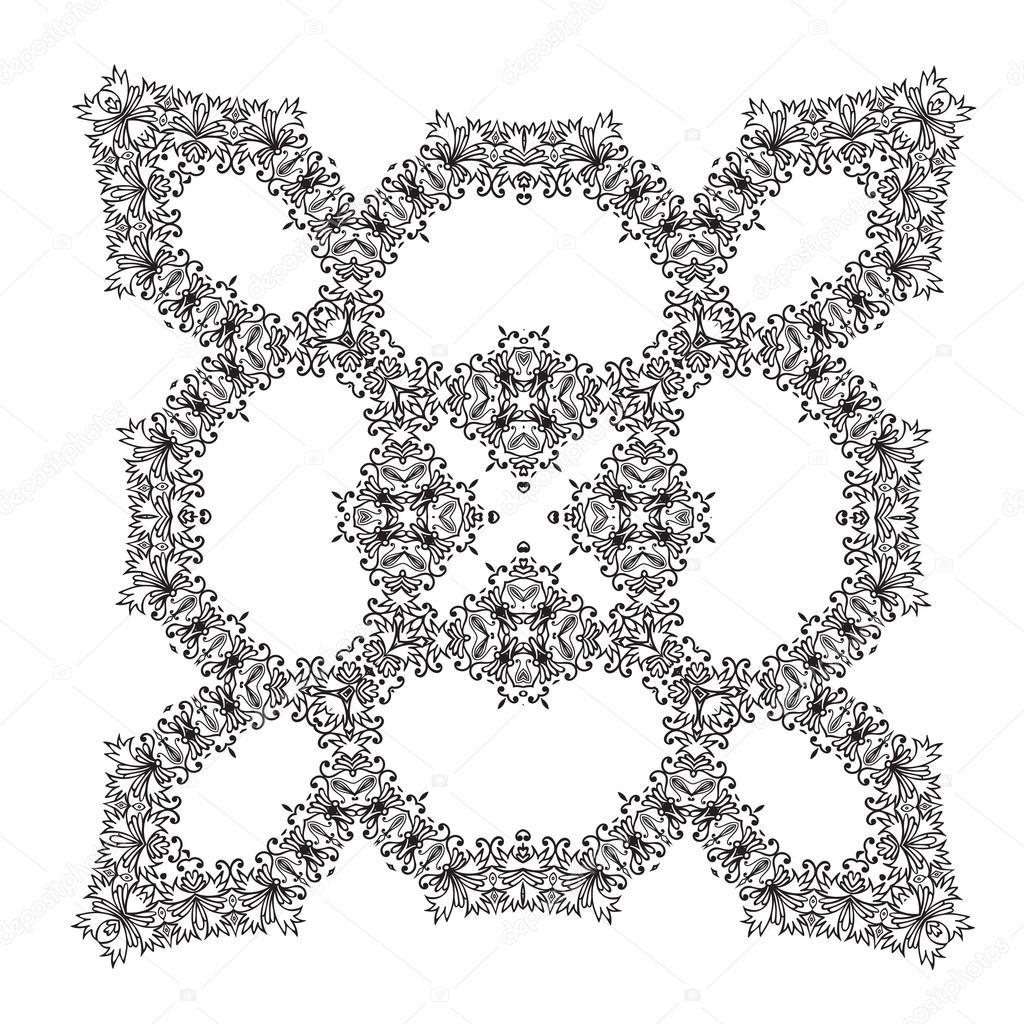 main dessin cadre d coratif floral zentangle image vectorielle 91989570. Black Bedroom Furniture Sets. Home Design Ideas