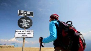 Trekker reaching Poon hill — Stock Video