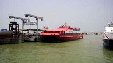 Red catamaran ferries — Stock Video