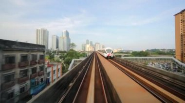 The citview from mouving LRT train — Stock Video