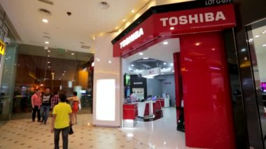 Toshiba store in shopping mall — Stock Video