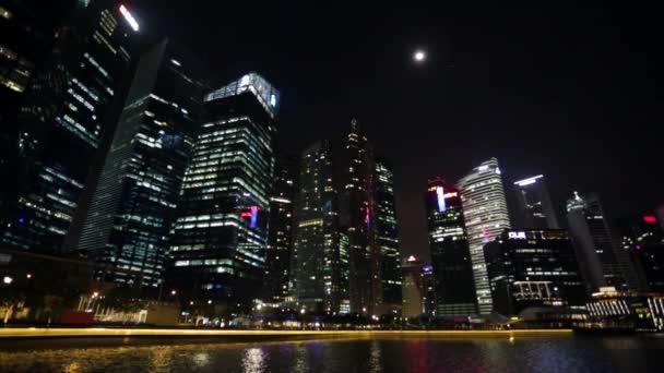 Skyline de Singapur de noche. — Vídeo de stock