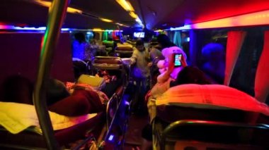 Tourists travelling by sleeper bus — Stock Video