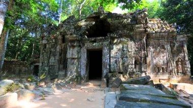 Backpacker visiting Ta Som temple — Vídeo stock