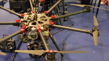 Presentation of quadrocopter at exhibition — Stock Video