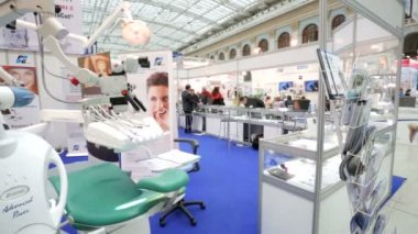 Dentist tools at the international exhibition — Stock Video