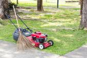Lownmower andTagmaprgaw Broom — Stock Photo