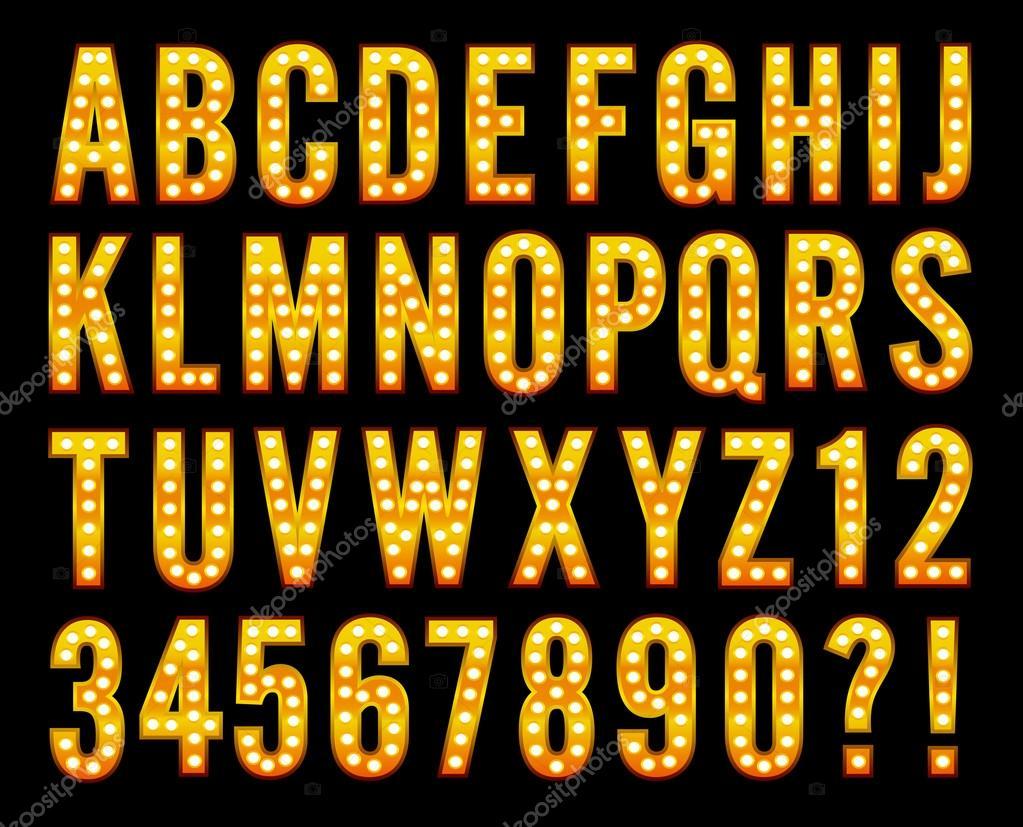 Broadway Light Alphabet Marquee Bulb Sign Stock Vector