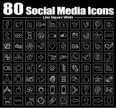 80 new Line Square social media icons - Vector, Back and white, transparent background — Stockfoto