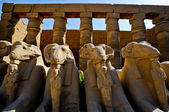 Ram-headed sphinxes-Egypt Temple of Karnak — Stock Photo