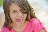Smiling Young Girl Tongue — Stock Photo